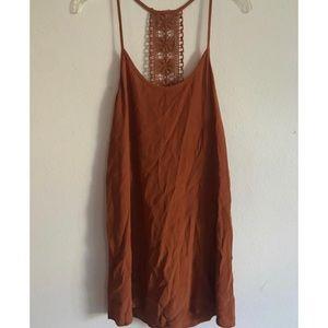 Rust Orange Rayon Dress